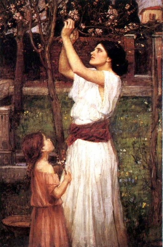 John William Waterhouse: Gathering Almond Blossoms - 1916