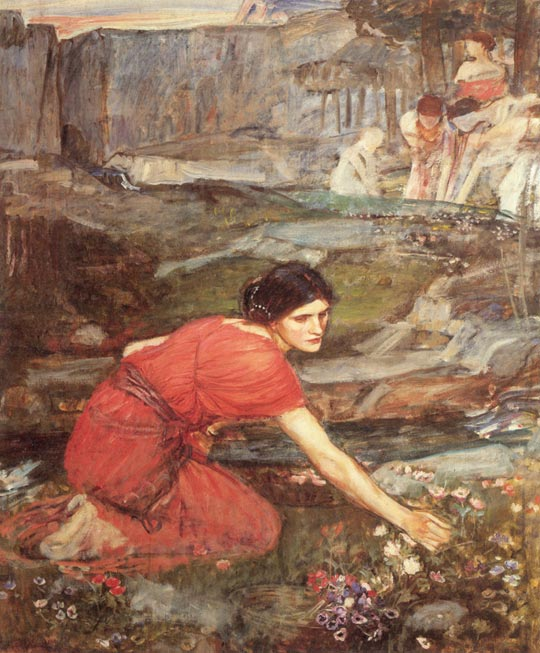 John William Waterhouse: Maidens Picking Flowers by a Stream (study) - 1911